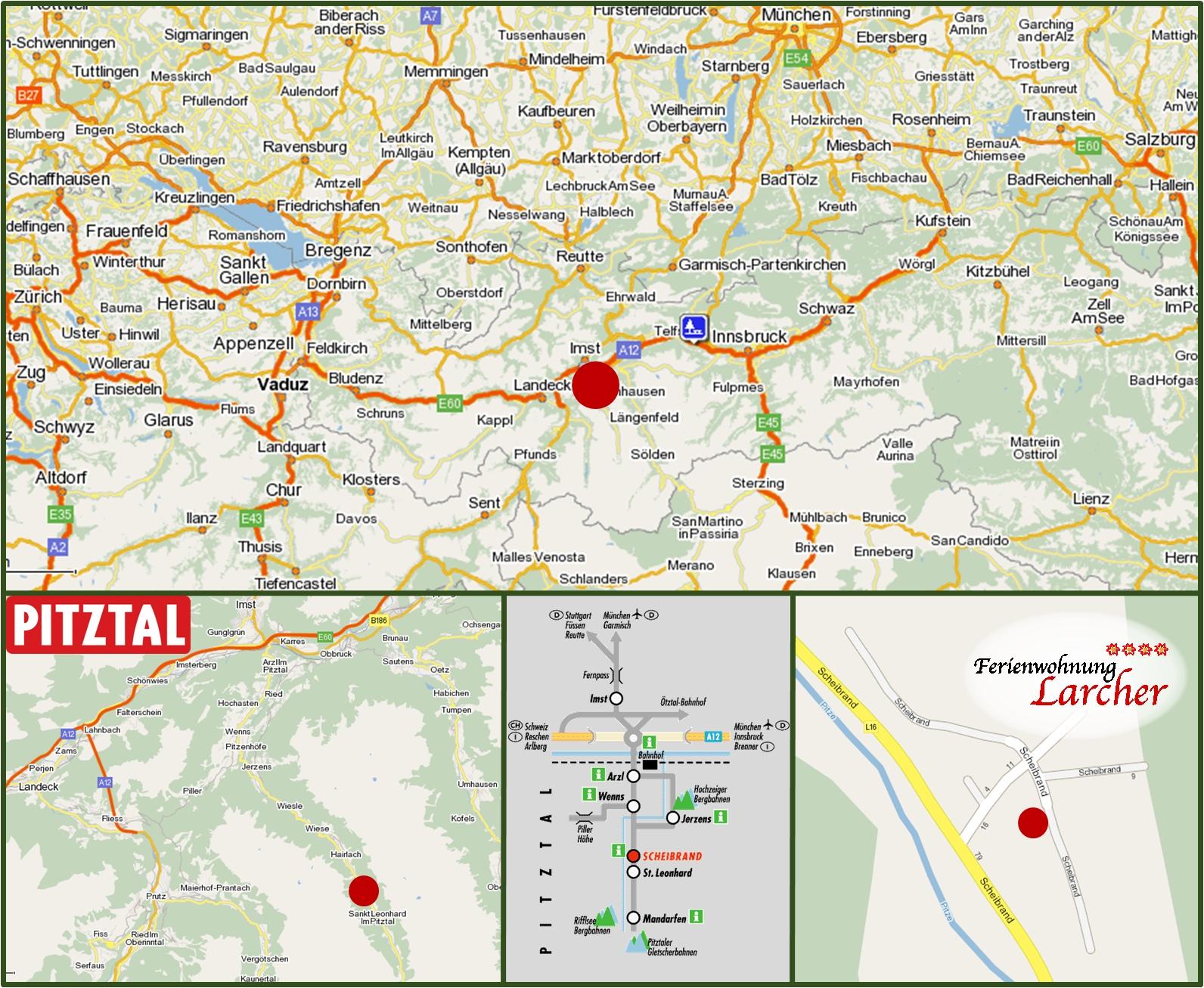 Pitztal Karte.Kontakt Anreise Ferienwohnung Larcher In St Leonhard